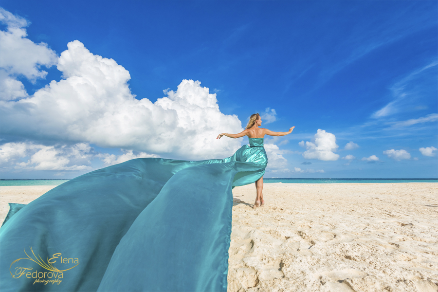 long dress model beach in isla mujeres