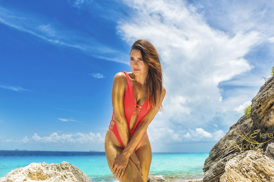 model golden glitter red swimwear photo isla mujeres
