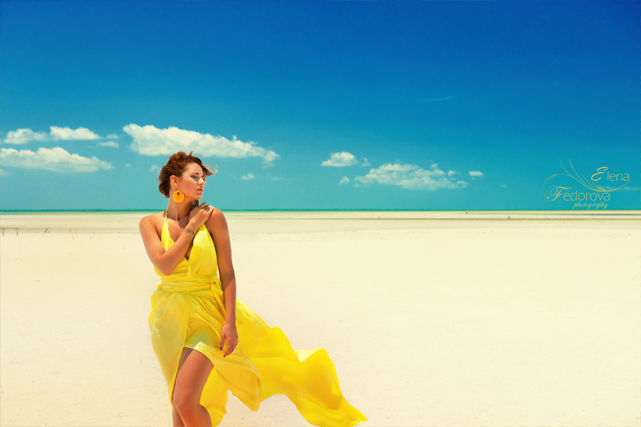 yellow dress and model isla mujeres